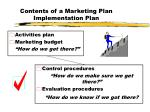 contents of a marketing plan implementation plan