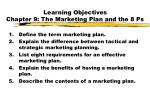 learning objectives chapter 9 the marketing plan and the 8 ps