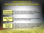 interrelatedness of sales force deployment decisions