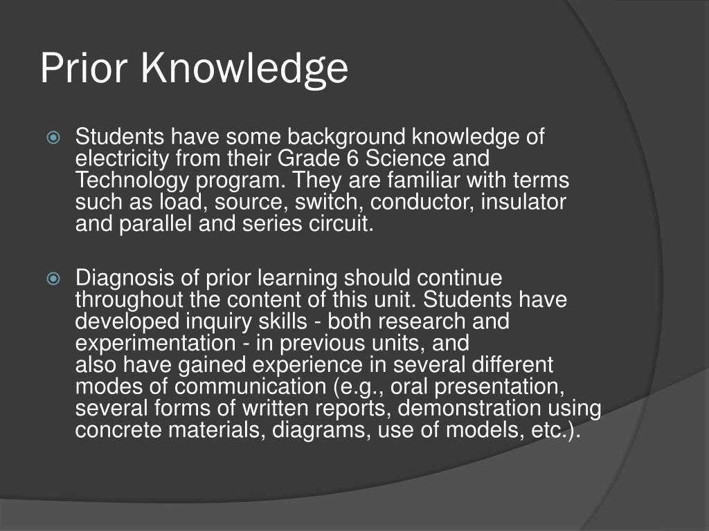 Prior Knowledge