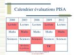 calendrier valuations pisa