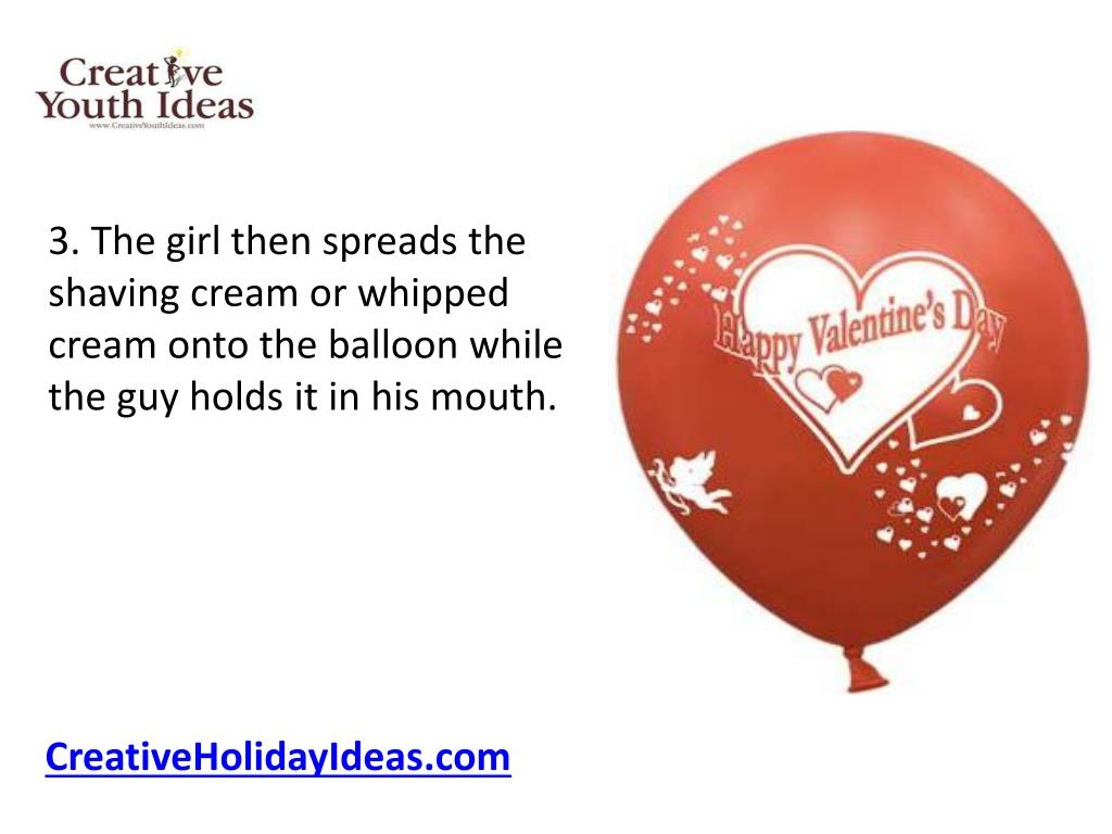 3. The girl then spreads the shaving cream or whipped cream onto the balloon while the guy holds it in his mouth.
