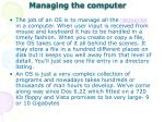 managing the computer
