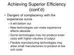 achieving superior efficiency cont d11