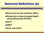 selected definitions b