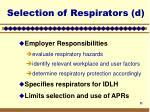 selection of respirators d