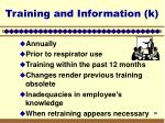 training and information k