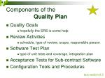 components of the quality plan