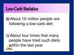low carb statistics