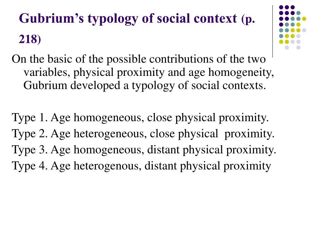 Gubrium's typology of social context