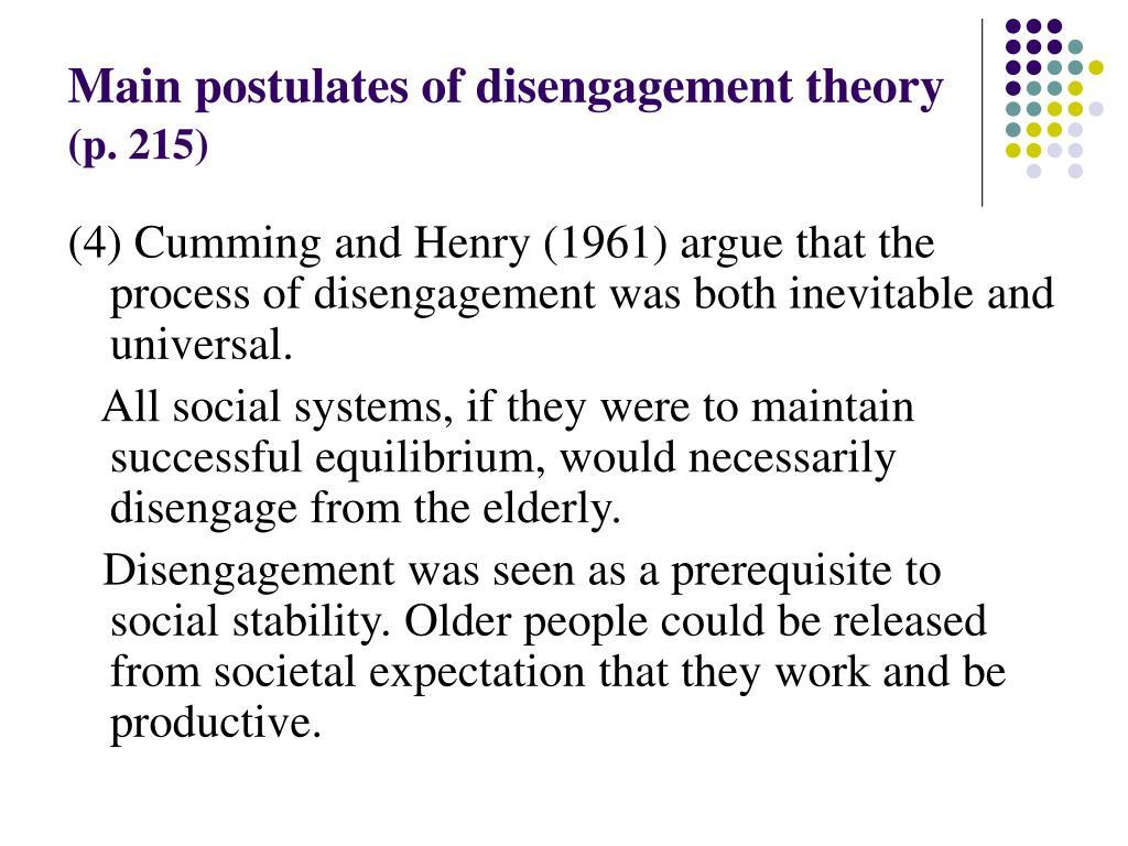 Main postulates of disengagement theory