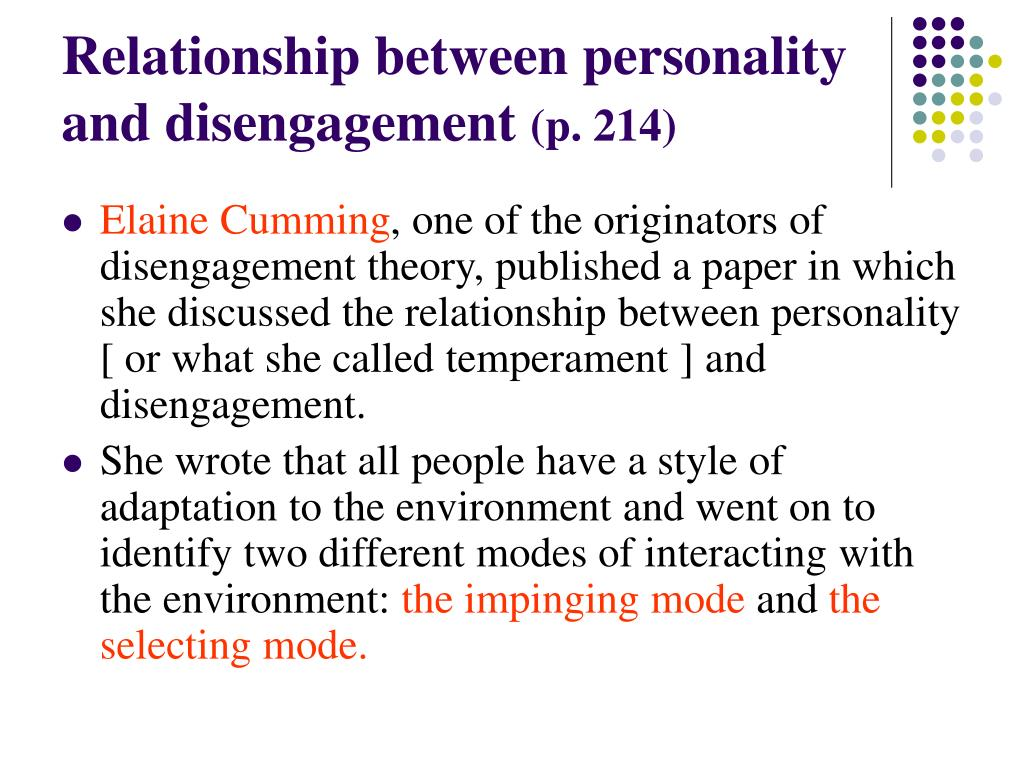 Relationship between personality  and disengagement