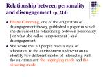 relationship between personality and disengagement p 214