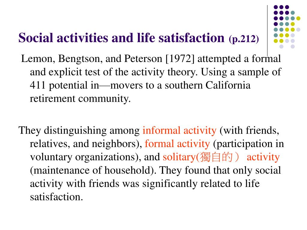 Social activities and life satisfaction