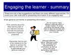 engaging the learner summary