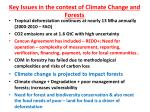 key issues in the context of climate change and forests