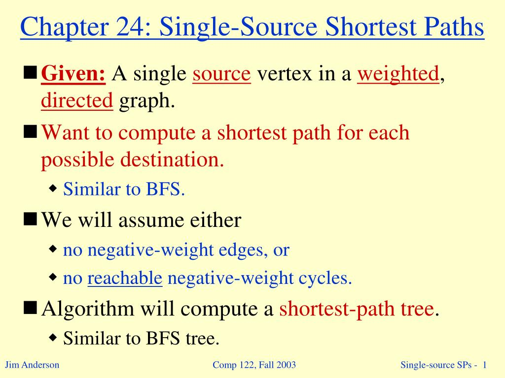 PPT - Chapter 24: Single-Source Shortest Paths PowerPoint