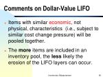 comments on dollar value lifo