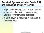 perpetual systems cost of goods sold and the ending inventory contd