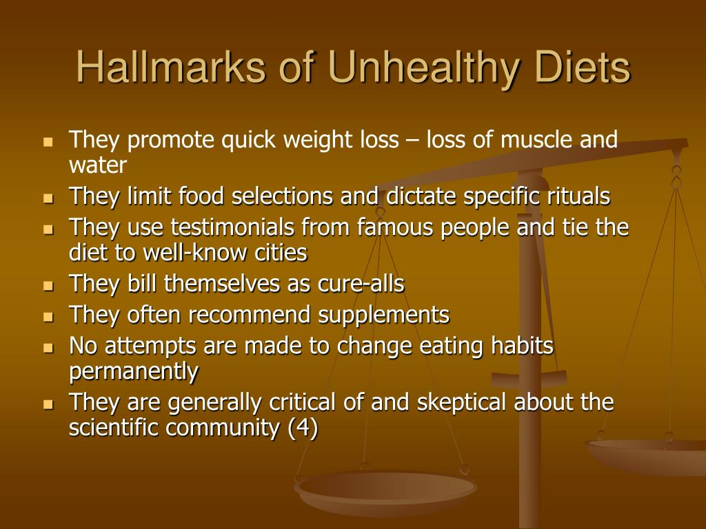 Hallmarks of Unhealthy Diets