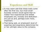 experience and skill