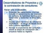 desarrolladores de proyectos y la contrataci n de consultores