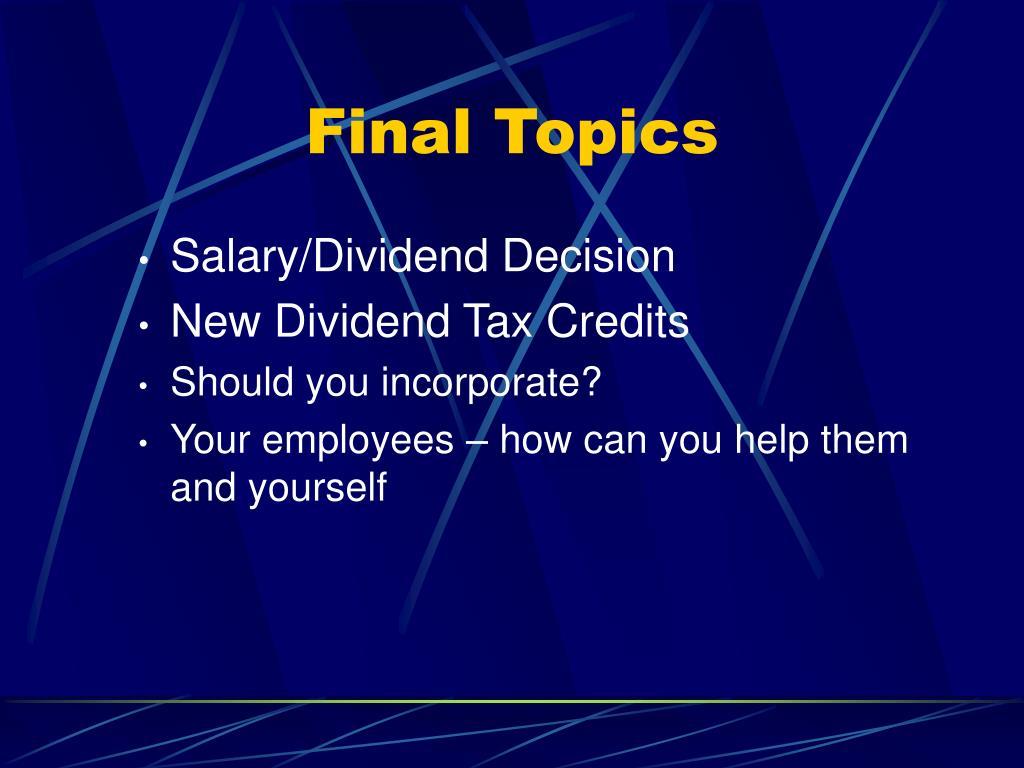 Final Topics