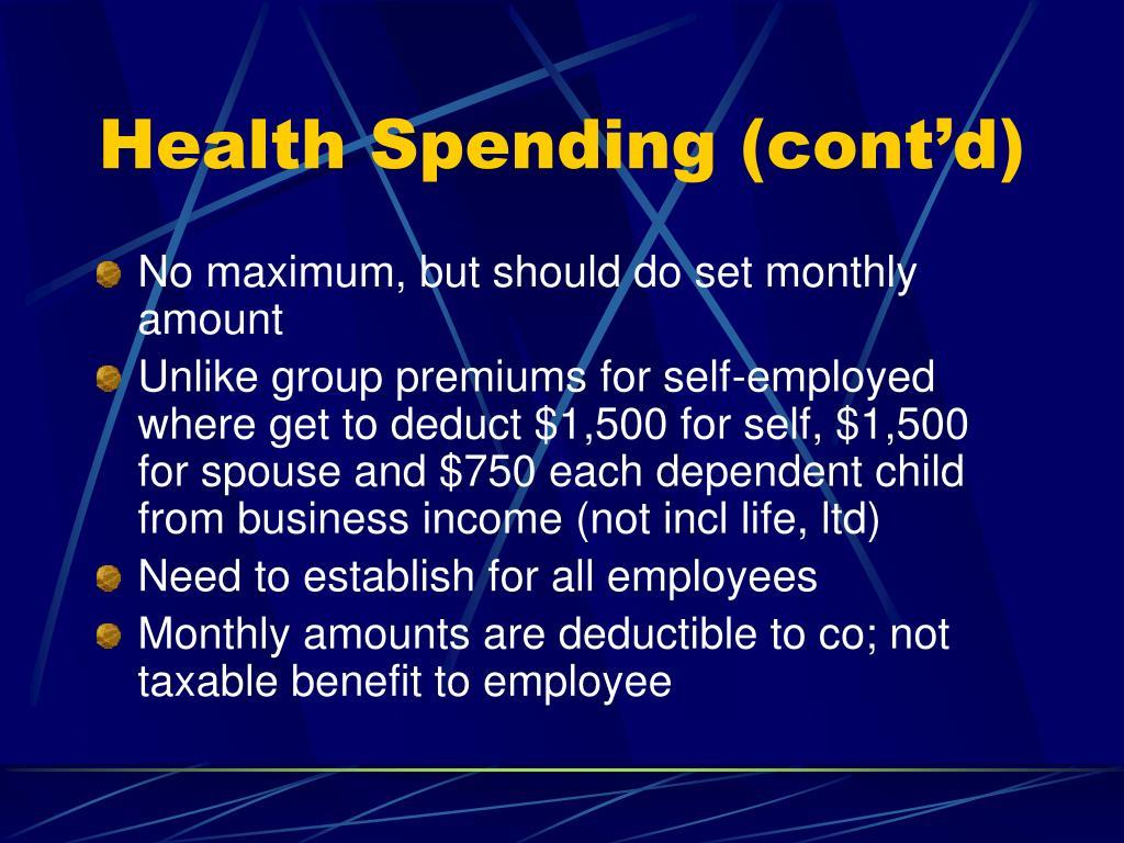 Health Spending (cont'd)