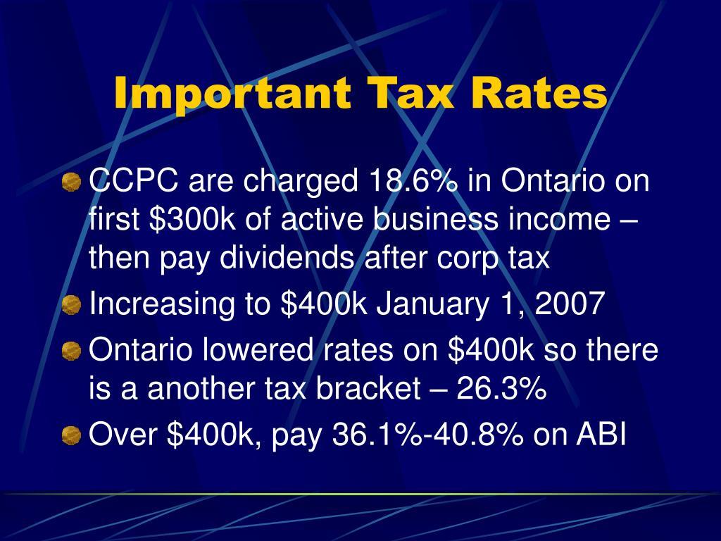 Important Tax Rates