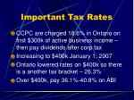 important tax rates