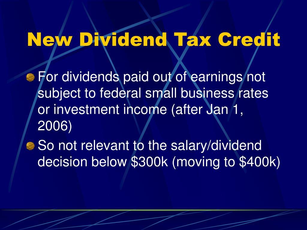 New Dividend Tax Credit