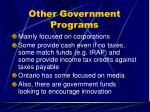 other government programs
