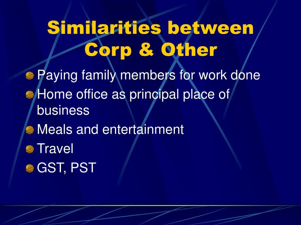 Similarities between Corp & Other
