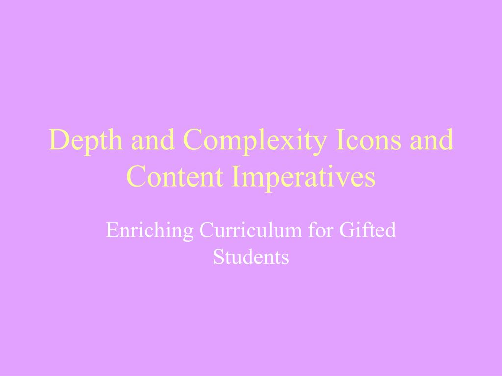 depth and complexity icons and content imperatives l.