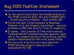 aug 2001 position statement