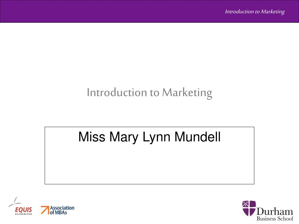 introduction to marketing l.