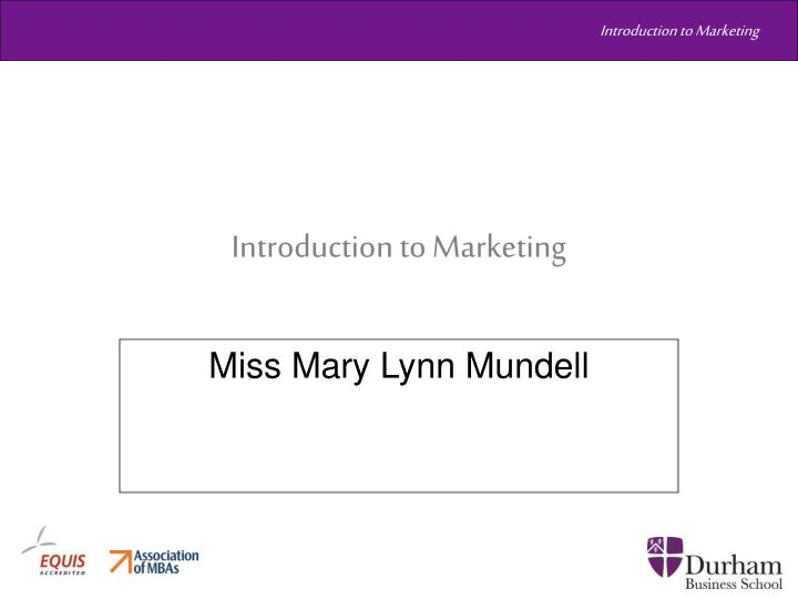 introduction to marketing n.