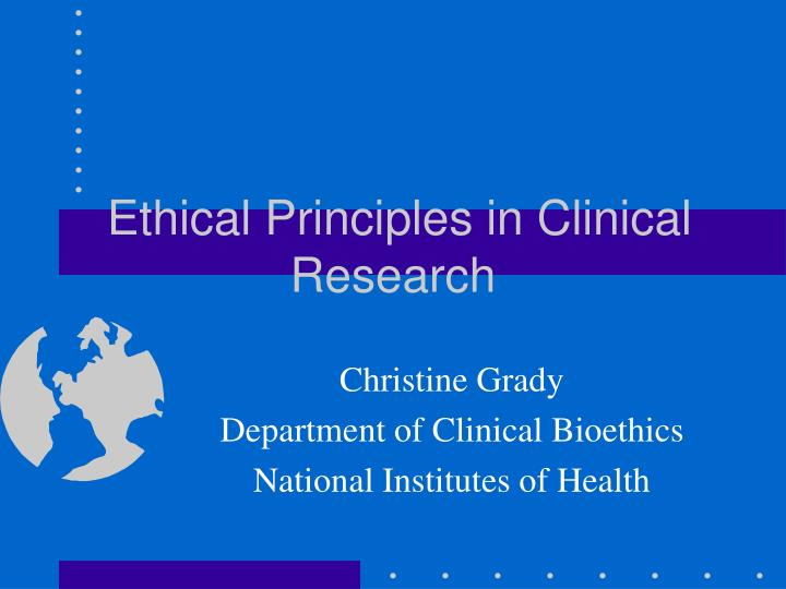 ethical principles in clinical research n.