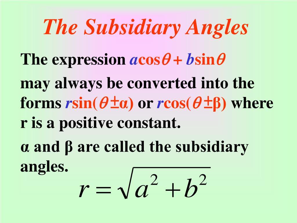 The Subsidiary Angles