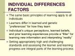 individual differences factors
