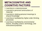 metacognitive and cognitive factors