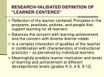 research validated definition of learner centered