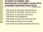 student academic and behavioral outcomes found with learner centered practices