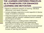 the learner centered principles as a framework for enhanced learning and motivation