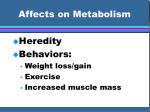 affects on metabolism