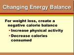 changing energy balance