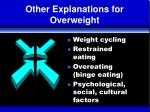 other explanations for overweight