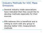 industry methods for voc mass emissions