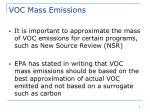 voc mass emissions