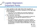 logistic regression important points